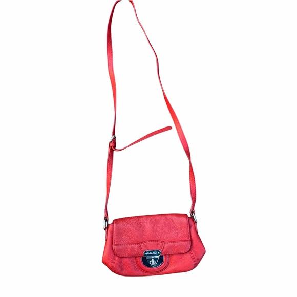 Calvin Klein red leather crossbody smaller bag